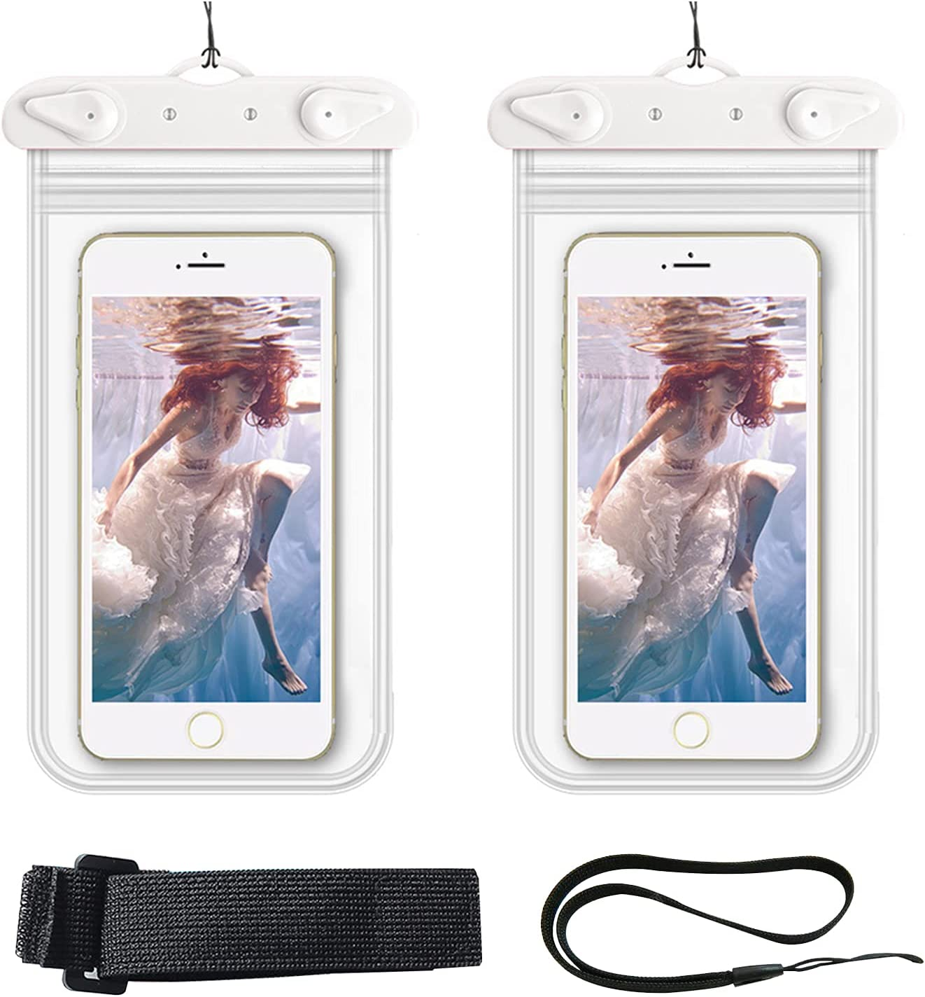 LINGLING 2 Pack Universal Waterproof Case, Cellphone Dry Bag Underwater Case for iPhone 12 Pro Max 11 Pro Max XS Max XR X 8 7 Samsung Galaxy s10/s9 Waterproof Phone Pouch, Up to 6.5