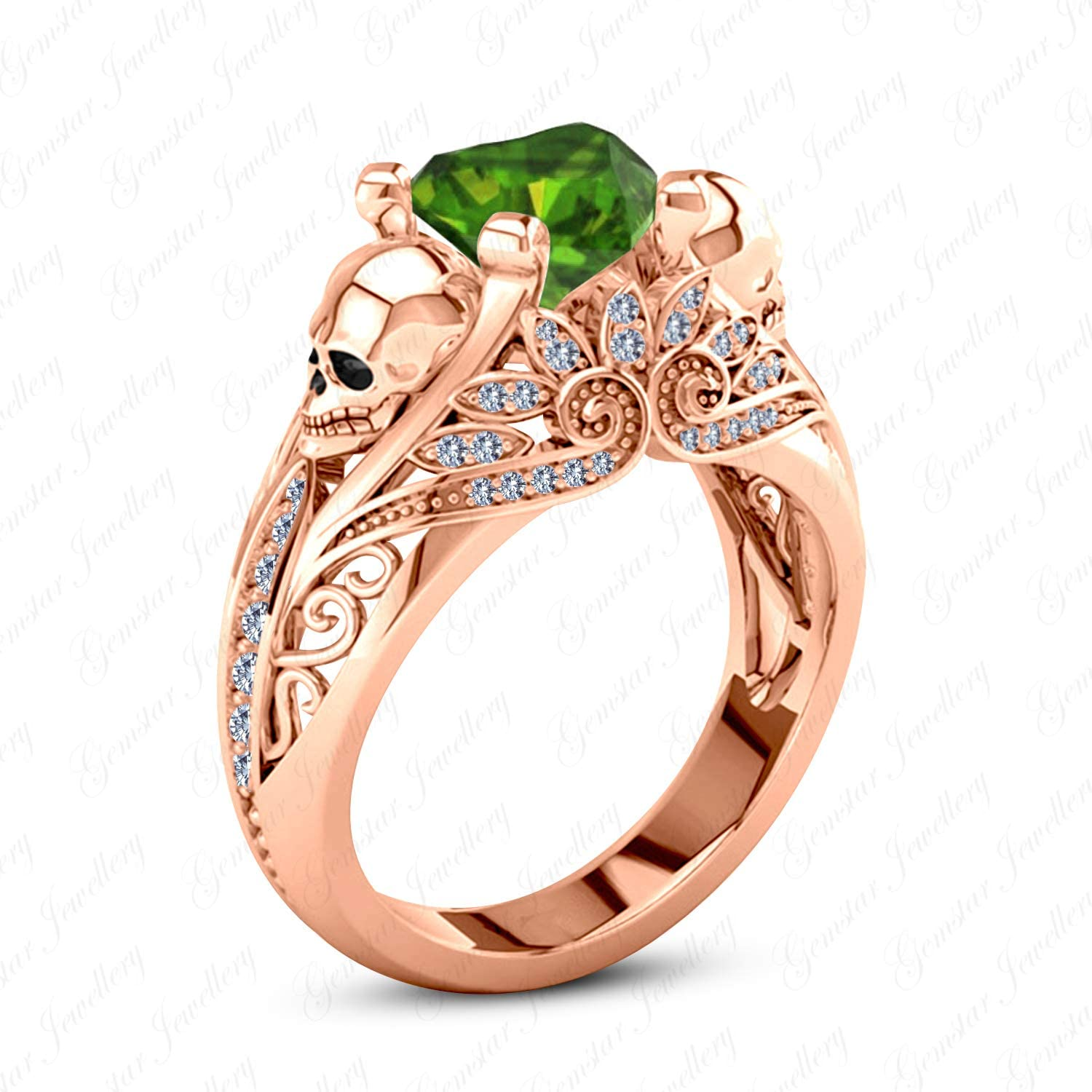 Gemstar Jewellery Gothic Skull Ring with Heart Green Emerald 925 Solid Silver 14k pink gold Plated