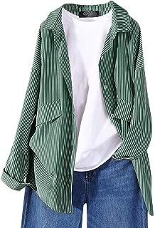 Bravetoshop Women's Long Sleeve Cardigans Striped Printed Open Front Draped Kimono Loose Cardigan Coat