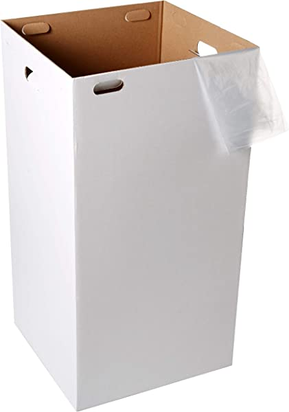 One Earth Disposable And Reusable Corrugated Cardboard Trash Cans Bundle Of 10 Boxes 20 Trash Bags White 40 Gallons