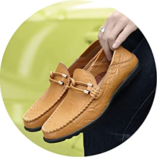 680a91e0f47 JIESENGTOO Handmade Genuine Leather Men Casual Shoes Luxury 2019 Men  Loafers Moccasins Breathable Slip on Black