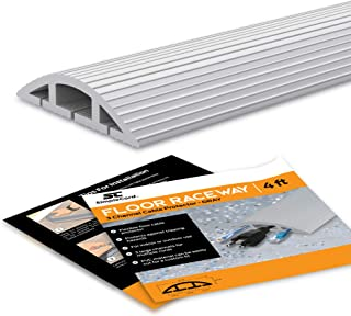 Simple Cord Floor 10 Ft Gray Cord Cover Protects Cables, Cords, or Wires - 3 Channel Grey On Floor Raceway for Sidewalks or Walkways, in The Home or Office Doorways (Gray 10 Ft)