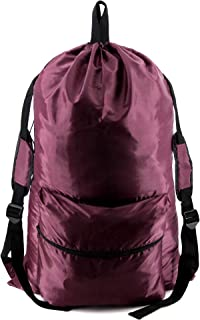 Burgundy Laundry Bag Backpack with Zipper Pocket W24H36 Laundry Hamper Sackpack w Shoulder Straps and Handles Machine Washable Plain Color Fabric Duffle Sack for Traveling Camping College Dorm