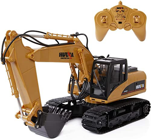 Angle 15-Kanal RC Bagger Spielzeug Multifunktionsger Bauwagen mit 2,4Ghz-Sender und Legierungsschaufel, wiederaufladbare Bagger Kind Traktor Junge