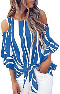 Women's T-shirt Striped Off Shoulder Bell Sleeve Shirt Tie Knot Casual Blouses Tops (L, Blue)