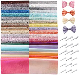 Caydo 36 Pieces Glitter Fauxs Leather Sheets with Hair Clips, Fabric Sheets for Bows Hair Clips Craft Making, Handbags and Other Crafts, A5 Size