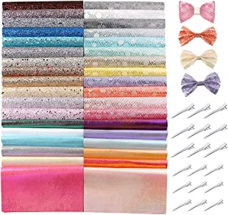 Caydo 36 Pieces Glitter Faux Sheets with Hair Clips for Bows Hair Clips Craft Making, Handbags and Other Crafts, A5 Size