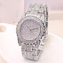 XBKPLO Round Luxury Women Watch Crystal Rhinestone Diamond Watches Stainless Steel Wristwatch Iced Out Watch with Japan Quartz Movement for Women   Simulated Lab Diamonds