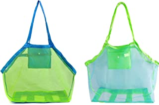 Joycola Mesh Beach Tote Bag, 2 Pack Large Beach Toy Bag Kids Sand Toys Storage Bag Sea Shell Bag Beach Toys Tote Bag Beach...