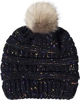 Chalier Womens Winter Confetti Beanies Knit Stretch Pom Pom Beanie Hat