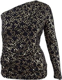 Michael Kors Women's Metallic One-Shoulder Top (XL, Black/Gold)