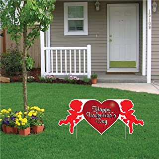 VictoryStore Yard Sign Outdoor Lawn Decorations: Valentine's Lawn Decoration - Happy Valentine's Day Cupid 2' x 4' Sign w/2 EZ Stakes