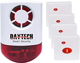 Daytech Wireless Remote Emergency Strobe Siren Alarm Kit Waterproof Outdoor Loud Panic Sos Warning System for Business Home Shop Hotel School 800ft 1 Red Flashing Siren+ 4 Call Buttons