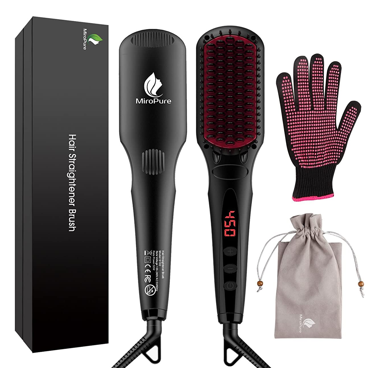 極地仮説請負業者MiroPure 2 in 1 Ionic Hair Straightener Brush ヘアストレートヘアブラシ with Heat Resistant Glove and Temperature Lock Function (並行輸入品)