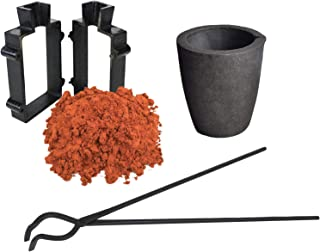 Sand Casting Set with 10 Lbs of Petrobond Quick Cast Sand Casting Clay Graphite Crucible Hinge Tongs and Cast Iron Mold Flask Frame Melt Pour Metals Melting Gold Silver Copper Aluminum