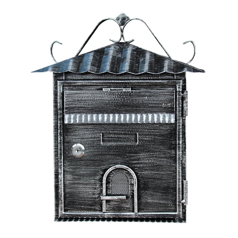 DS-ドンシェンショップ メールボックス - 亜鉛メッキシート、小さなヨーロッパのレトロ屋外壁ハンギングビルレター収納ボックス、ヴィラ、中庭、家庭に適して - 35X22X8.5cm &&