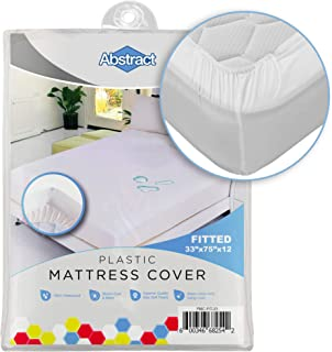 Abstract Vinyl Mattress Protector Corner Fitted Style Cover -Best to Protect Your Bed from Spills, Accidents and Damage - 100% Waterproof Plastic - in Twin and Cot Size - White (33