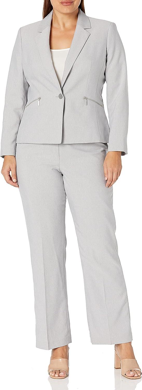 Le Suit Women's Plus Size 1 Button Mini Herringbone Pant Suit