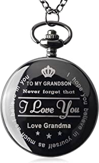 Pocket Watch To My GrandSon - Love Grandma(Love Grandpa)Necklace Chain From Grandparents to Grandson Gifts with Black Gift Box By Qise (Love GrandMa Black)