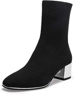 IDIFU Women's Emma Fashion Square Toe Low Block Heel Sock Booties Pull on Stretch Short Boots