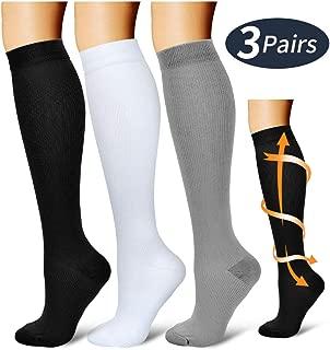 Compression Socks,(3 Pairs) Compression Sock Women & Men - Best Running, Athletic Sports, Crossfit, Flight Travel