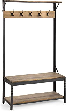 Plow & Hearth Deep Creek Coat Rack Hall Tree with Bench Seat and Five Hanger Hooks with Reclaimed Rustic Wood Surfaces an