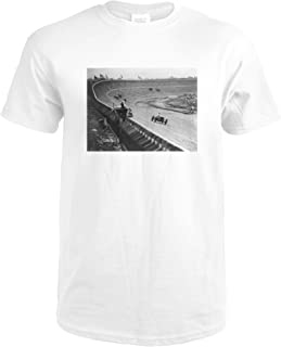 Automobile Racing on Curved Wooden Track Photograph 4764 (Premium White T-Shirt XX-Large)