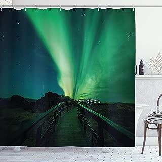 Ambesonne Aurora Borealis Shower Curtain, Wooden Bridge Solar Sky Scenic Radiant Rays Arctic Magic Scenery, Cloth Fabric Bathroom Decor Set with Hooks, 70 Inches, Fern Green Dark Blue