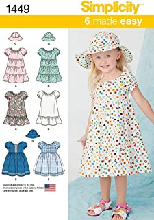 Simplicity 1449 Easy to Sew Girl's Dress and Hat Sewing Patterns, Sizes 1/2-2