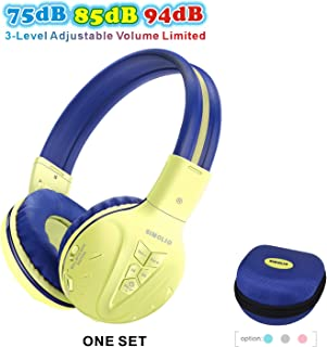 SIMOLIO Wireless Bluetooth Kids Headphones with Volume Limited, Hearing Protection Kids Wireless Headset, Wireless Headphones for Kids, Bluetooth Headsets for Girls,Boys, Gifts(Yellow)