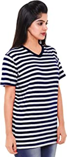 EASY 2 WEAR ® Women T-Shirt Loose and Long Fit - V Neck - S to 5XL - (White and Blue Stripes)