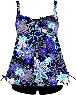 Hilor Women's Two Pieces Swimwear Halter Tankinis Flyaway Swimsuit with Draswstring