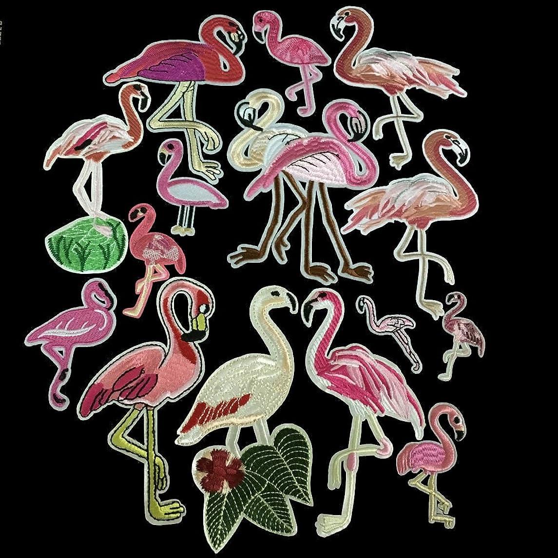 15pcs/Set Flamingo Applique Embroidery Patches Sewing Patch Sticker Accessories Clothing Clothes Parches