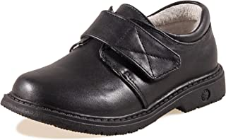 SKOEX Boy's Easy Fasten Dress Oxford School Uniform Shoes Black