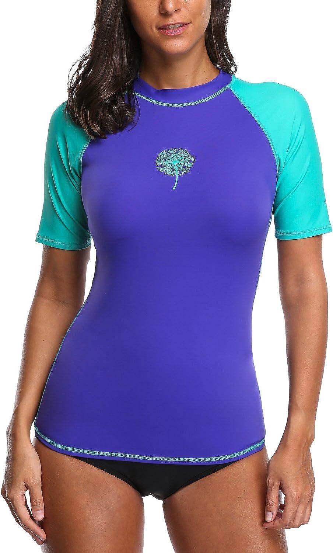 Sociala Womens Rash Guard Short Sleeve UV Predection Rashguard Shirt XXL Purple