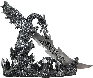 Wicked Fire Dragon Fantasy Letter Opener Knife Dagger and Holder Base