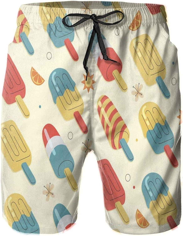 Mens Quiky-Dry Beach Short,Novelty Drawstring Elastic Waist Swim Trunks Surfing Beach Board Shorts