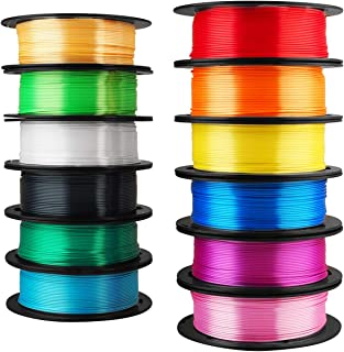 Mika3D 12 in 1 Bright Shine 3D Printer Silk PLA Filament Bundle, Most Popular Colors Pack, 1.75mm 500g per Spool, 12 Spools Pack, Total 6kgs Material with One Bottle of 3D Printer Stick Gift
