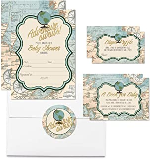 """Deluxe Adventure Awaits World Traveler Baby Shower Party Bundle, Includes 20 Each of 5""""x7"""" Fill in Invitations, Diaper Raffle Tickets, Bring a Book Cards & 2"""" Thank You Favor Stickers w/Envelopes"""