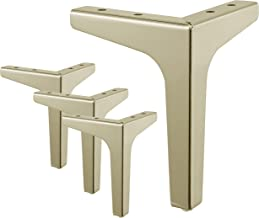 """Ornavo Home Set of 4 Modern Metal Diamond Triangle Gold 7"""" inch Furniture Legs Replacement for Sofa, Couch, Armchair, Recl..."""