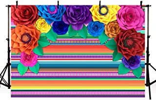 MEHOFOTO 7x5ft Fiesta Theme Party Colorful Stripes Backdrop Cinco De Mayo Mexican Festival Photography Background Paper Flower Decoration Event Table Decor Banner Background Photo Booth Props