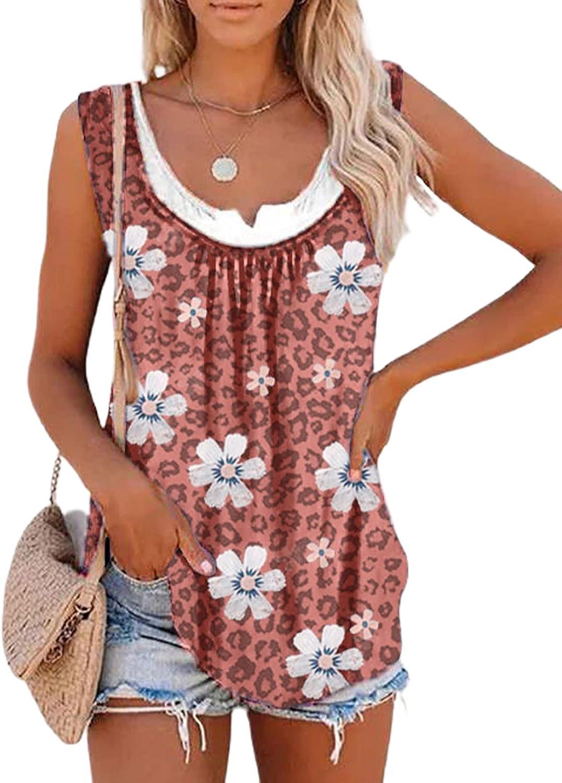 Biucly Womens Summer Crewneck Sleeveless Floral Print Tank Tops Loose Blouses