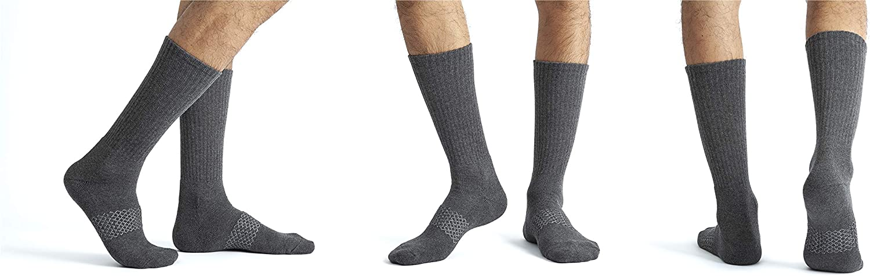 U&I Men's Casual Crew Socks Comfort Cushion Reinforced Toe Arch Support (4 Pack)