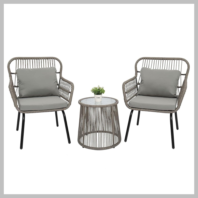 3-Piece Patio Wicker Conversation Bistro Chairs Gla Set List price 2 Branded goods with