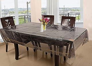 مفرش طاولة طعام 6 مقاعد فاخر مصنع من بلاستيك بي في سي بشريط ذهبي من كوبر إندستريز - اسود شفاف (CTKTC01272)