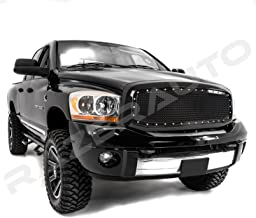 GSI 06-08 Dodge Ram 1500 + 06-09 Dodge Ram 2500/3500 Gloss Black Mesh Grille W/Rivet Replacement Shell Packaged Grille (Black)