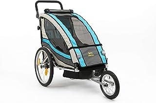 Aurotek Yogui Remolque Bici para niños, de Aluminio con Suspensión, Fácilemente transformable en Carrito con Kit de Footing, Barra incluida, Bebés Unisex, Azul, Medio