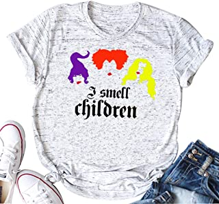 I Smell Children Tee Shirts Women Funny Hocus Pocus Shirt Sanderson Sisters O-Neck Tee Tops