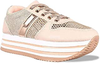 Z. Emma Women's Fashion Glitter Mesh Breathable Platform Sneakers Lace Up Casual Walking Shoes SN02
