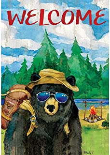 Custom Decor Bear Camper - Standard Size, Decorative Double Sided, Licensed and Copyrighted Flag - Printed in USA Inc. 28 Inch X 40 Inch Approx.